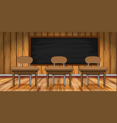 classroom scene with wooden desks and chairs vector image