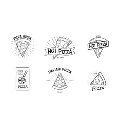 Collection of monochrome logotypes with pizza vector