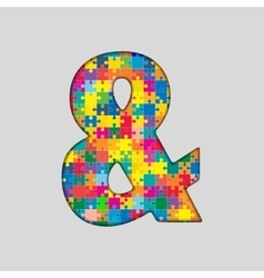 Color Puzzle - Ampersand Mark Gigsaw Piece vector image