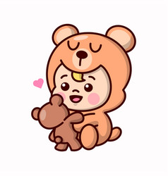 Cute baby in teddy bear costume and bringing a ted vector