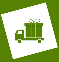 delivery gift sign white icon obtained as vector image