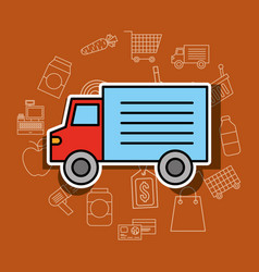 delivery transport truck supermarket vehicle vector image