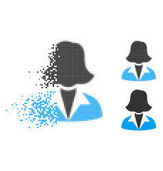 Dispersed dotted halftone office lady icon vector