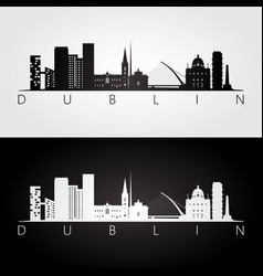 Dublin skyline and landmarks silhouette vector