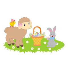 easter bunny and lamb vector image