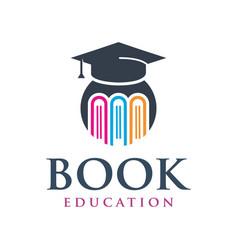 Educational book logo design vector