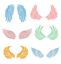 elegant angel wings with long feather angelic vector image
