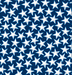 Embroidery white stars in a seamless pattern vector image