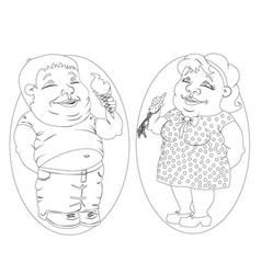 fat man and woman eating ice cream and carrots vector image