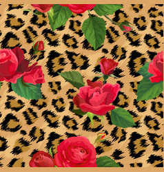 flowers and leopard skin seamless pattern animal vector image