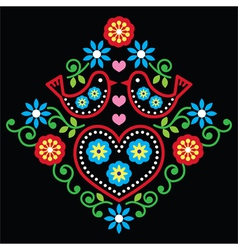 Folk art floral pattern on black vector image