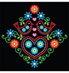 Folk art floral pattern on black vector