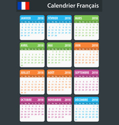 French calendar for 2018 scheduler agenda or vector