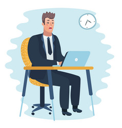 Frustrated scared business man cartoon character vector