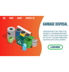 garbage disposal concept banner isometric style vector image