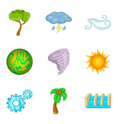 Green energy icons set cartoon style vector
