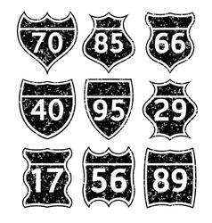 Grunge road signs set vector