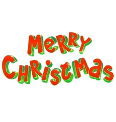 Hand lettering 3D Merry Christmas sign vector image