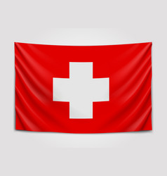 hanging flag of switzerland swiss confederation vector image