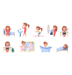 Happy child daily routine health and hygiene vector