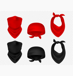head bandanas neck scarf and realistic set vector image