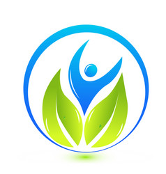 Healthy clean people green leaf logo vector