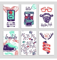 Hipster Sketch Banner Set vector