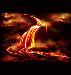 hot magma flow caused by volcanic activity vector image