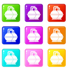 Industrial tanks for petrol and oil icons 9 set vector
