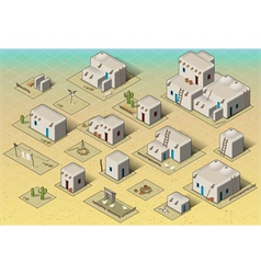 Isometric western rural pueblo basic set tiles vector