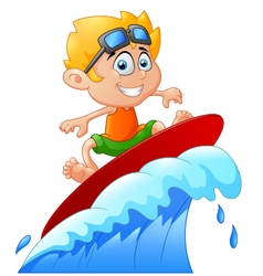 Kids play surfing on surfboard over big wave vector
