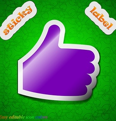 Like Thumb up icon sign Symbol chic colored sticky vector