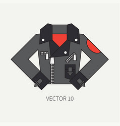 line flat color icon wear - leather jackets vector image