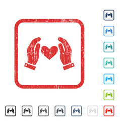 love heart care hands icon rubber watermark vector image vector image