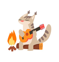 lynx playing guitar while sitting by the bonfire vector image