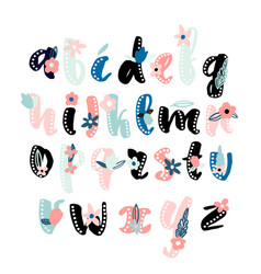 Made with ink alphabet with floral elements vector