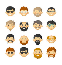 Man face avatar icon set with beards mustaches vector