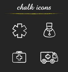 Medical chalk icons set vector