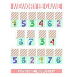 Memory card game numbers printable a4 vertical vector