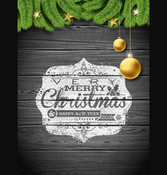 merry christmas and happy new year on vector image