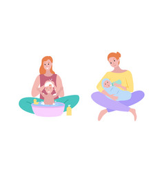 mother and bawoman washing hair child soap vector image