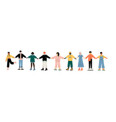 multicultural young people standing in row vector image