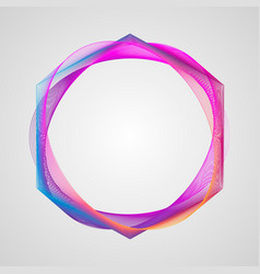 neon stylized guilloche element circle bright vector image
