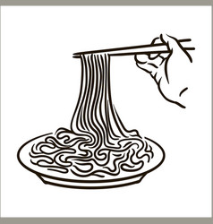 noodles simple sketch on whit vector image
