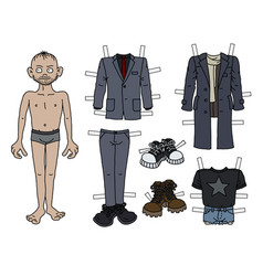 paper doll boy vector image