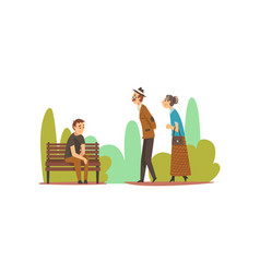 people relaxing in nature young man sitting on vector image