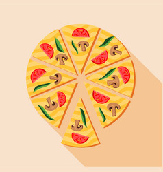 Pizza with mushrooms and cherry tomatoes icon vector