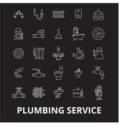 plumbing service editable line icons set on vector image