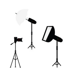 Professional photo light equipment set vector