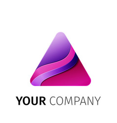 purple triangle logo design ribbon vector image
